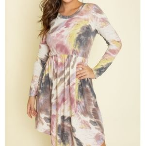 SET OF 2 Tie Dye Empire Waist Dresses